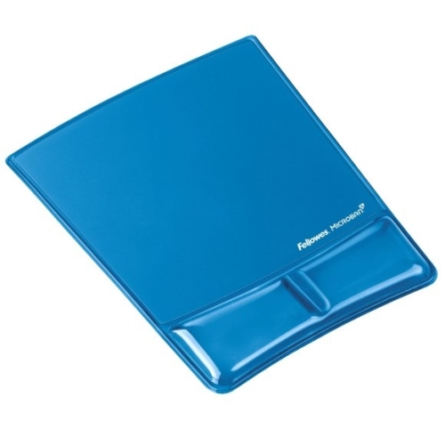 Podložka pod myš a zápěstí Fellowes Health-V CRYSTAL gelová Microban modrá